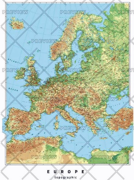 Europe Topographic Wall Map by Oxford Cartographers
